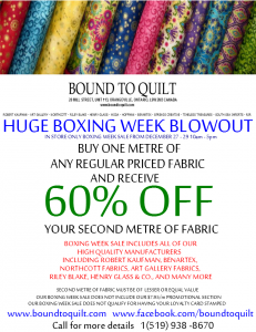Bound To Quilt Canada: Huge 2012 Boxing Week Blowout