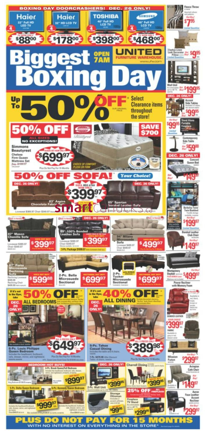 United Furniture Warehouse 2012 Boxing Week Flyer Dec 21 To 26 1