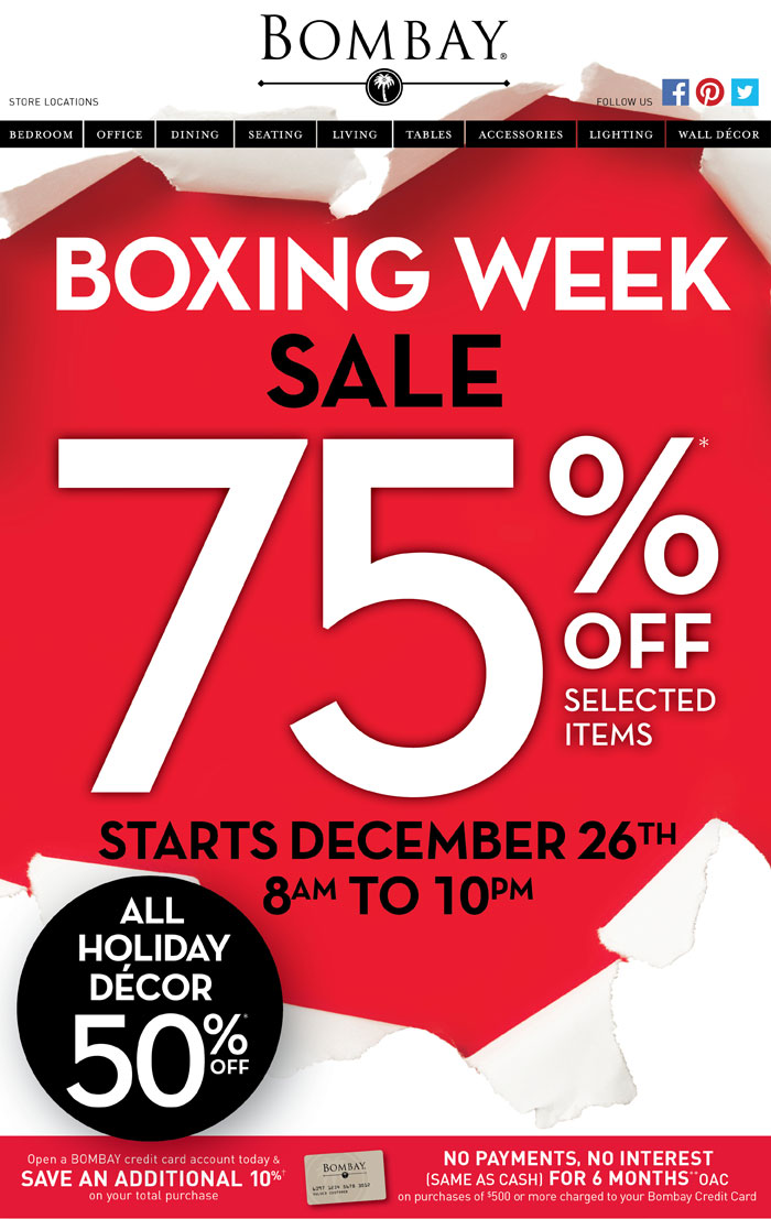 Boxing Day Sears. Sears Boxing Day Here are some of the Sears Boxing Day deals. Up to 70% off Christmas Trees, Lights, Ornaments, Gift .