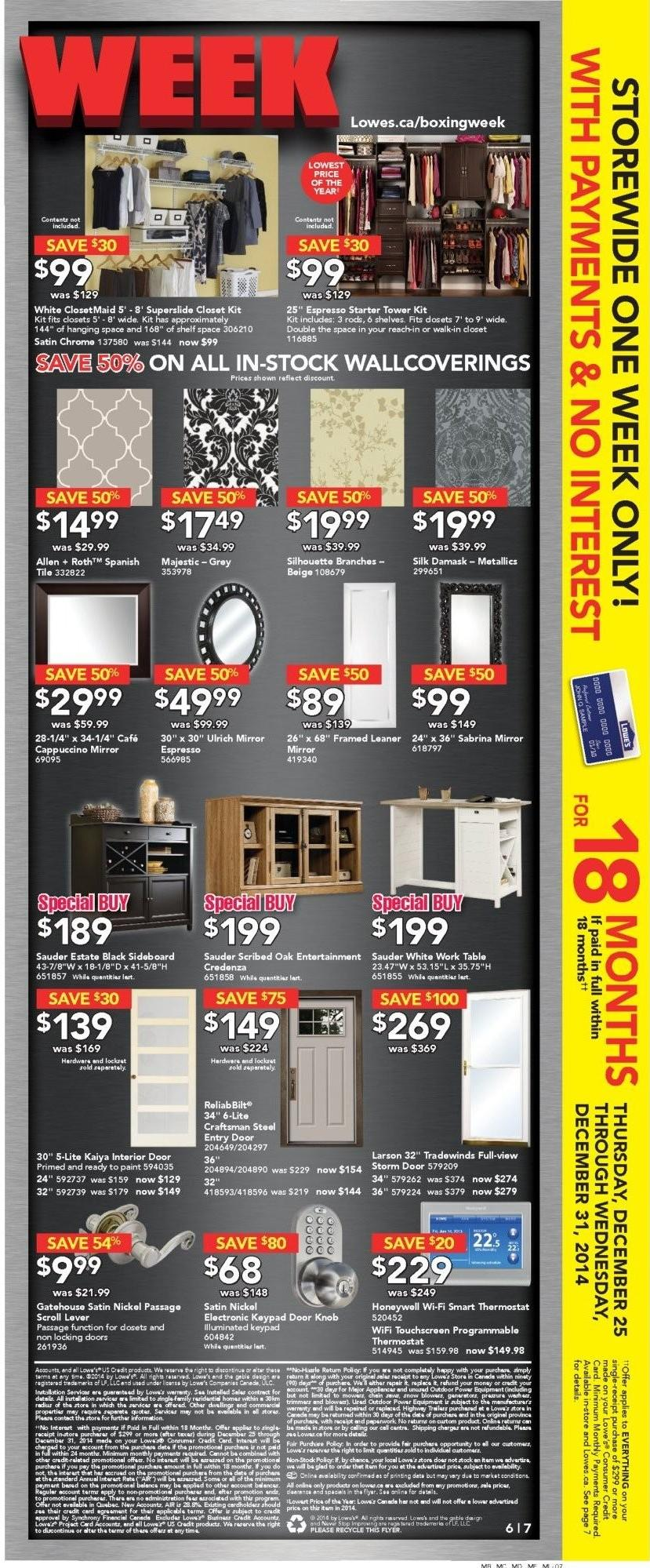Lowe S Boxing Day Boxing Week 2014 Flyer Deals Amp Sales